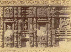 Close view of sculptural details and mouldings on the façade of the basement of the refectory, Jagannatha Temple, Puri